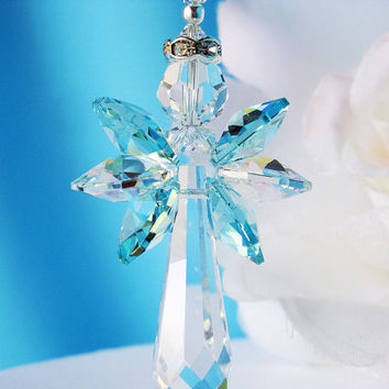 Crystal Angel Suncatcher Car Charm Swarovski Turquoise Blue Rear View Mirror Car Accessories