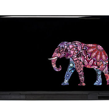 Elephant Ornate Vinyl Laptop or Automotive Art FREE SHIPPING decal laptop notebook art sticker ornate detailed colorful elephants walking