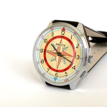 Watch Compass Raketa Azimuth Or Wind Rose 19 Jewels. Vintage Mens Wrist Watch. Mechanical Men's Watch With Solar Compass. Gents Dress Watch.