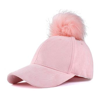 Women Faux Fox Fur Pompom Baseball Caps Ball Suede Adjustable Cap Hip-Hop Hat 2017 fashion new style Gorros para el sol