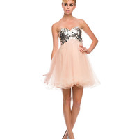Nude Embellished Strapless Sweetheart Short Dress 2015 Homecoming Dresses