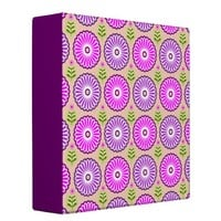 Pink purple country flowers and leaves Binder
