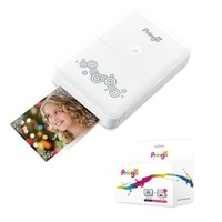 HiTi Pringo Pocket WiFi Photo Printer for Smartphone (White) with Pringo 30-Pack Paper Sheets & 3-Dye Ribbon Cartridges