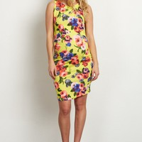 Yellow-Floral-Fitted-Maternity-Dress