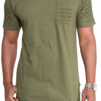 Olive Ripped and Repair Extended Tee