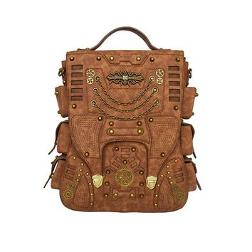 Men Women Brown PU Leather Fashion Punk Rivet Backpack Design Ca. Item  Type  Backpacks ... 24565d595f5a1