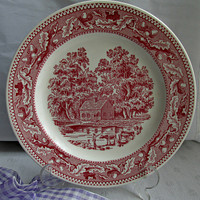 Memory Lane Red Transferware Dinner Plate Royal China Cows Farmhouse Stream