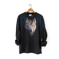 Vintage WOLF Shirt. 90s Grunge Shirt. Coyote Woods Stars Shirt. Black Long Sleeve Shirt.