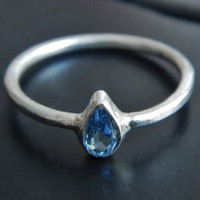 Blue Topaz and Sterling Silver Ring - Topaz Ring - Minimalist Ring - Blue Stone Ring - December Birthstone - Gift for Mom - Gift for Her
