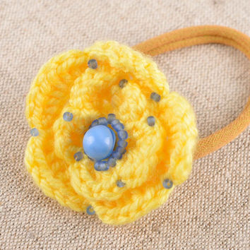 Handmade crocheted scrunchy hair accessories flower barrette present for girl