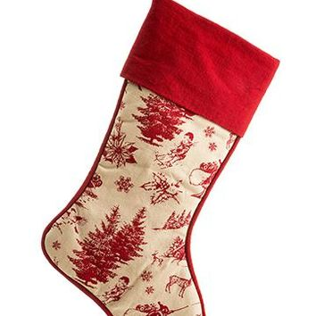 """Christmas Decor Red Beige Toile Fabric Stocking - 18"""" Tall"""