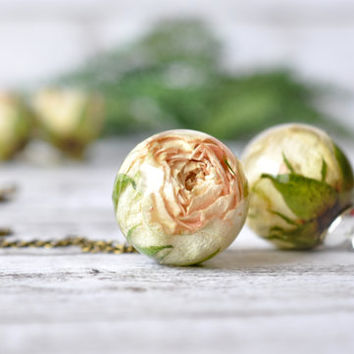 Real White Rosebud Resin Sphere Pendant Necklace -  Pressed Flower Resin Jewelry - Rosebud Resin Ball - Real Rose Necklace
