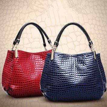 2017 new fashion genuine women crocodile leather handbag pattern patchwork bag messenger bag female shoulder bag with ladies