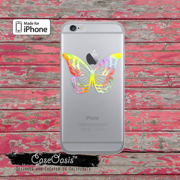 Butterfly Watercolor Silhouette Rainbow Cute Clear Case iPhone 6 iPhone 6 Plus iPhone 6s iPhone 6s Plus iPhone 5/5s iPhone 5c iPhone 7 Plus