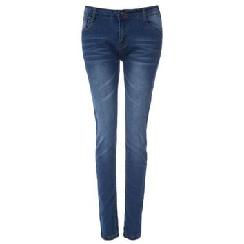 High-Waisted Zipper Embellished Slimming Pencil Jeans For Women