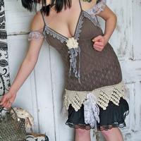 Woman's gray black halter tank top dress up cycled crochet fabric style ooak  Anita Spero