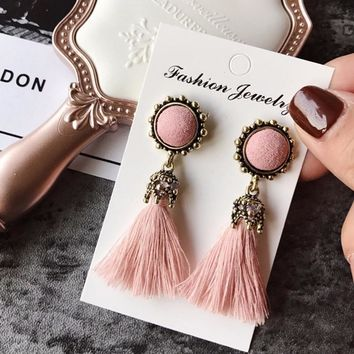 Tiny Tassel Earrings for Women Fashion Jewelry Vintage Velvet Ball Statement Fringed Drop Earring Female Jewellery New