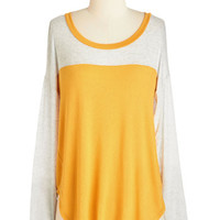 ModCloth Colorblocking Mid-length Long Sleeve Cozy Crafting Top