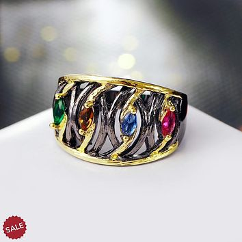 Two Tone Vintage Multi-colored CZ Stone Cocktail Ring