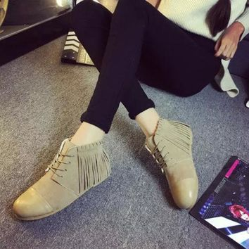 VLX2WL Autumn Casual Leather Tassels Height Increase Round-toe With Heel Boots [9432939338]