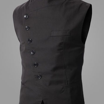 Stand Collar Inclined Button Fly Sleeveless Waistcoat