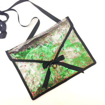 Christmas Holly Sequin and Glitter Plastic Clutch Handbag with Removable Strap