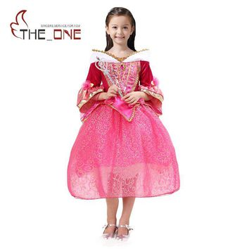 Girls Sleeping Beauty Princess Party Dresses Children Aurora Flare Sleeve Cosplay Costume Clothing Kids Sequins Tutu Dress