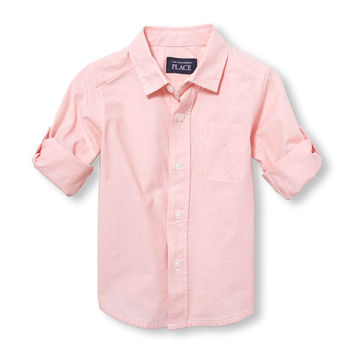 Toddler Boys Roll-Up Long Sleeve Solid Poplin Button-Down Shirt | The Children's Place