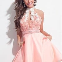 Buy discount Marvelous Tulle & Satin High Collar Neckline A-Line Homecoming Dresses With Lace Appliques at Dressilyme.com