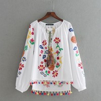 HOT! Fashion Floral Pineapple Embroidery Women Blouses Pullover Shirts Colorful Tassel V Neck Casual Tops chemise femme blusas
