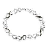 Black and White Diamond Accented Infinity Bracelet in Sterling Silver 7.5""