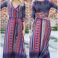 Weather The Storm Navy & Red Mixed Print Maxi Dress