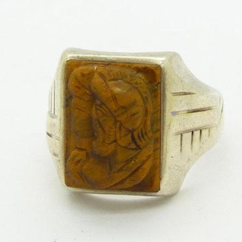 Vintage Sterling Silver Art Deco Men's Tiger's Eye Cameo Centurion Ring