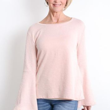 Pink Ribbed Bell Sleeve Top