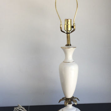 Brass and Ceramic Lamp with Ormolu Flower Detail, Cream and Gold Living Room Lamp, Ornate Lamp, Vintage Lamp
