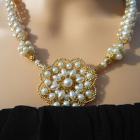 Pearl and Gold Hand Beaded Necklace