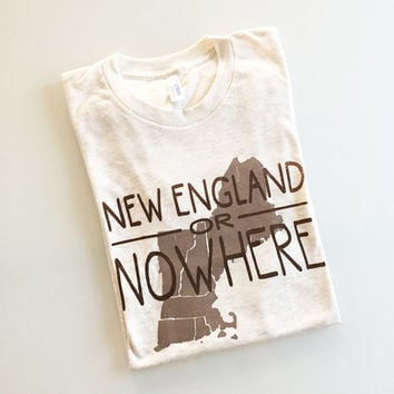 New England or Nowhere - northeast region tee - silkscreen t-shirt - oatmeal/brown XL