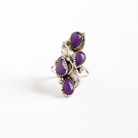 "Vintage Sterling Silver Sugilite Navette Ring - Retro Size 7 3/4 Southwestern Native American Navajo Leaf Boho Purple Gemstone Jewelry ""A"""
