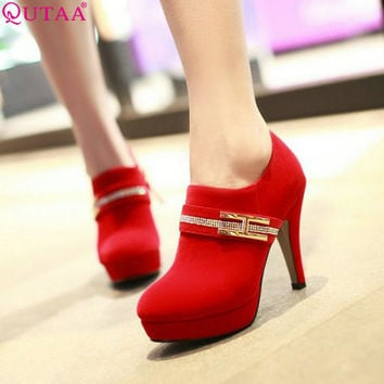 QUTAA 2017 New Fashion Fashion Sexy Lady High Heel Bow not Pumps Ankle Shoes Women's Pumps Wedding Party Shoes Size 34-40