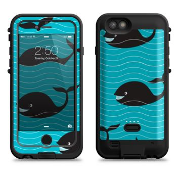 The Teal Smiling Black Whale Pattern  iPhone 6/6s Plus LifeProof Fre POWER Case Skin Kit