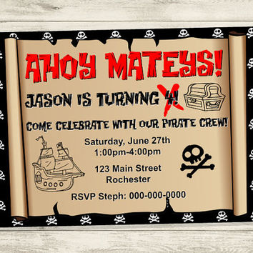Printable Pirate Party Invitation, Pirate Treasure Map Invitation, Pirate BIrthday Party, Pirate Themed Kid's Birthday Party Invitation