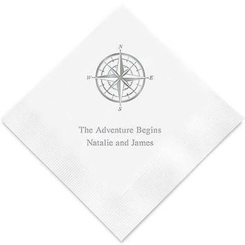 Vintage Travel Compass Printed Paper Napkins (Sets of 80-100)
