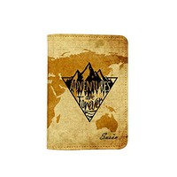 Adventure Are Forever Vintage World Map [ Name Customized ] Passport Holder - Leather Passport Cover - Vintage Passport Wallet - Travel Accessory Gift - Travel Wallet for Women and Men_LOKISHOP