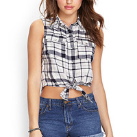 Self-Tie Plaid Shirt