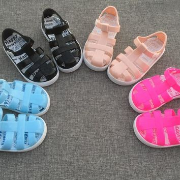 hot 2017 new design Mini Melissa girls Roman Sandals Kids jelly Shoes soft Sandals Children'S anti skid Roman Shoes 14.5-17cm
