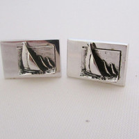 Sailboat Cufflinks Sailing Yachting Vintage Cuff Links Men's Jewelry Gifts for Him Dad