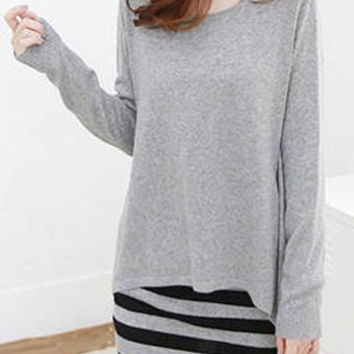 Gray Long Sleeve Blouse with Striped Sundress