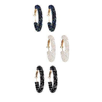 Austrian Crystal Style Rhinestone Hoop Earrings (3 Color Options)