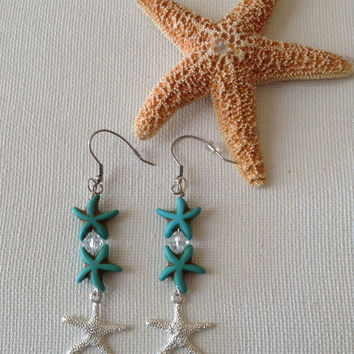 Starfish earrings, starfish with swarovski crystal and dangle starfish charm, ocean earrings, mermaids, beach weddings, bridesmaids