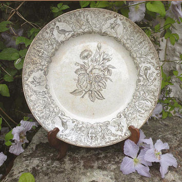 LARGE french antique ironstone plate, gray transferware ironstone platter, french country home decor, floral ironstone plate shabby chic